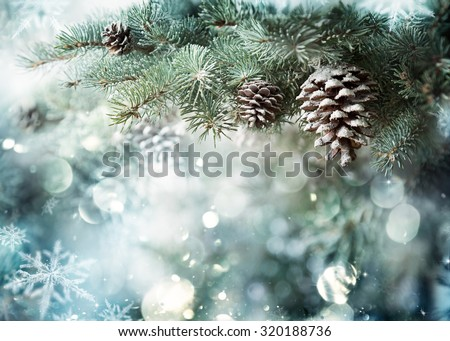Fir Branch With Pine Cone And Snow Flakes - Christmas Holidays Background  Royalty-Free Stock Photo #320188736
