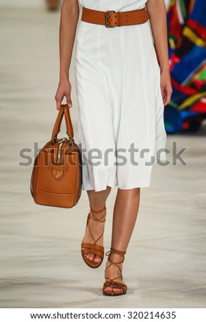 NEW YORK, NY - SEPTEMBER 17: A model walks the runway wearing Ralph Lauren Spring 2016 during New York Fashion Week: The Shows at Skylight Clarkson Sq on September 17, 2015 in New York City. #320214635