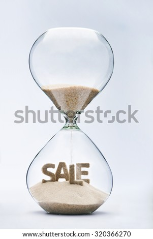 Summer sale. Hourglass falling sand taking the shape of summer sale inscription #320366270