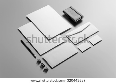 Corporate Stationery, Branding Mock-up, deep shadows, with clipping path, isolated, changeable background. Royalty-Free Stock Photo #320443859
