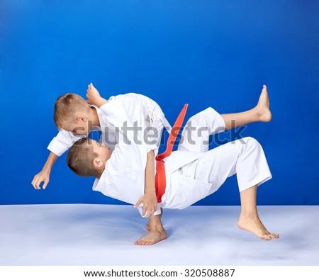 Athletes are trainig Judo throws #320508887