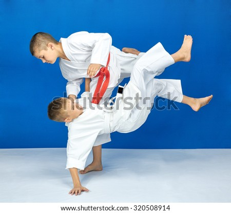 Boy with red belt do throws #320508914