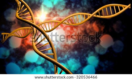 3D DNA strand with vibrant colors for genetics background #320536466