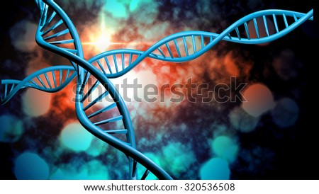 3D DNA strand with vibrant colors for genetics background #320536508