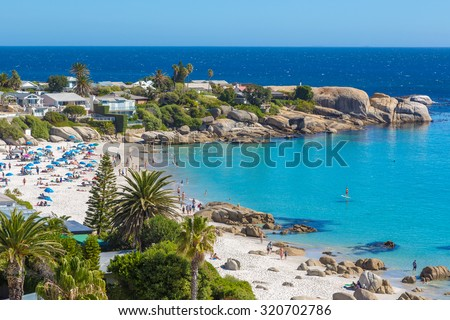 Beautiful day in Camps Bay in Cape town, South Africa Royalty-Free Stock Photo #320702786