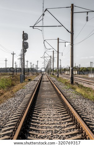 Train. Southern Railway - Nodal railway junction of Ukraine. Transport infrastructure Railway. Creative color processing #320769317