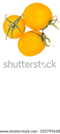 Mini yellow cherry tomato over white background #320799668