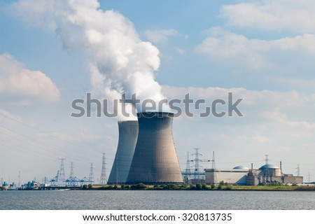 Cooling towers of nuclear power plant of Doel near Antwerp, Belgium #320813735