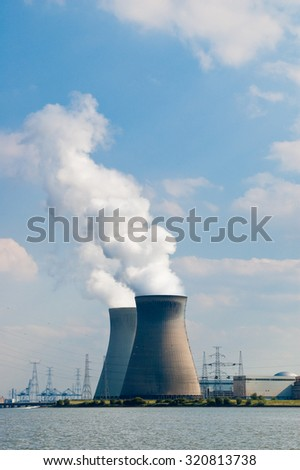 Cooling towers of nuclear power plant of Doel near Antwerp, Belgium #320813738