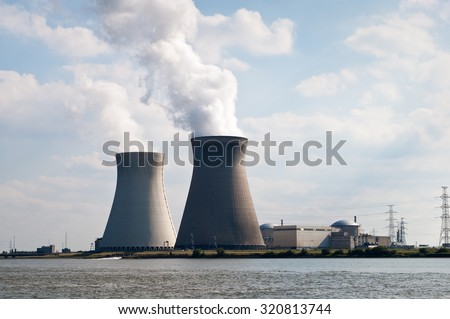 Cooling towers of nuclear power plant of Doel near Antwerp, Belgium #320813744