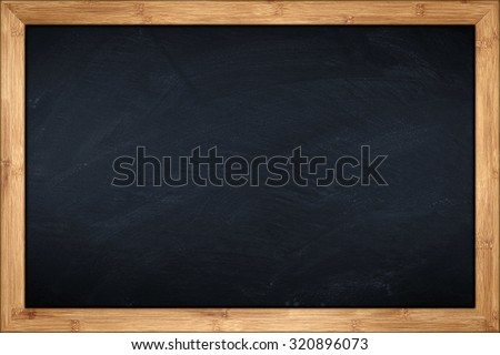blackboard with wooden bamboo frame Royalty-Free Stock Photo #320896073