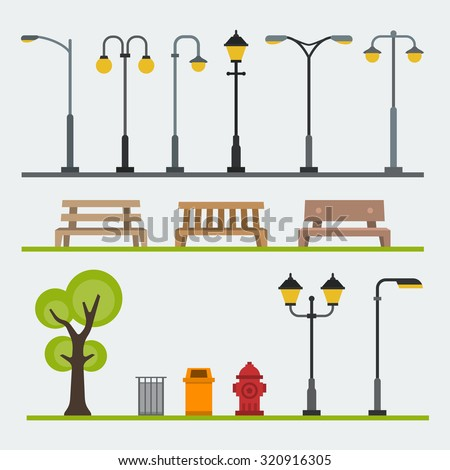 Light posts and outdoor elements for construction of landscapes. Vector flat illustration Royalty-Free Stock Photo #320916305