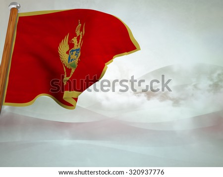 Flag of Montenegro floating in the wind on abstract background #320937776