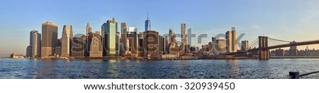 Sunrise panorama of a Downtown Manhattan in New York City, summer 2015