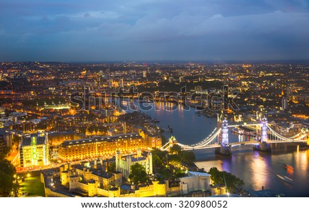 London at sunset, panoramic view with Tower bridge #320980052