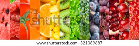 Collection with different fruits, berries and vegetables. Healthy food background #321089687