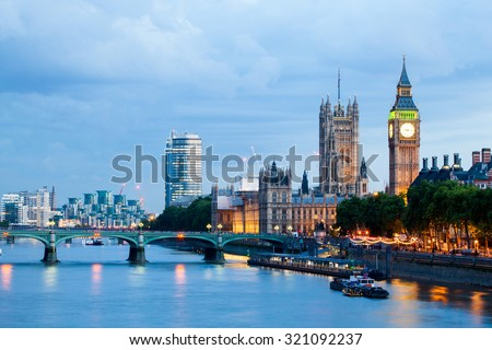 30. 07. 2015, LONDON , UK, London at dawn. View from Golden Jubilee bridge #321092237
