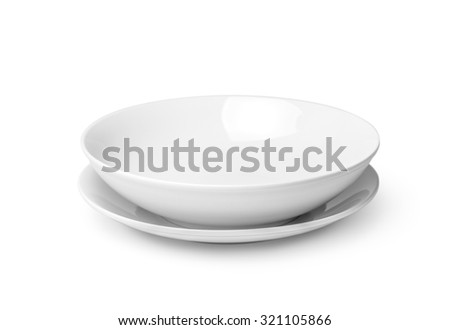 Two white empty plates isolated on white background. Clipping path included #321105866