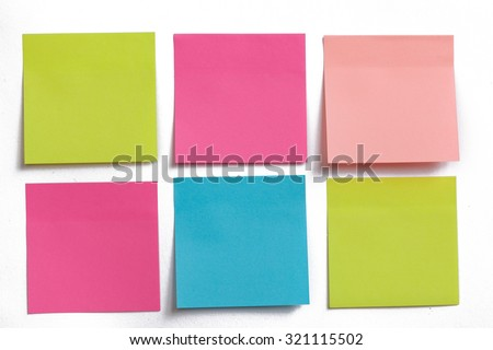 collection of colorful post it paper note on white background Royalty-Free Stock Photo #321115502