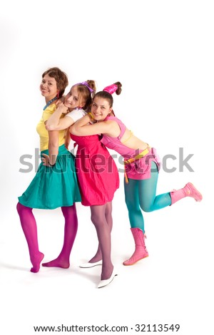 people series: three young girls in bright clothes #32113549