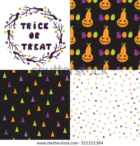 Set of festive seamless pattern for Halloween. Bright cartoon illustrations in traditional colors. Vector #321221384