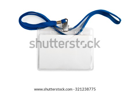 Badge identification white blank plastic id card  isolated  #321238775