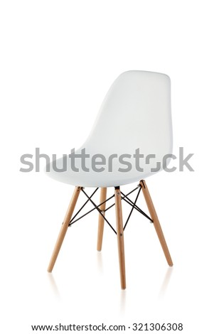 modern chair with wooden legs isolated on white background #321306308