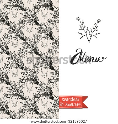 Double sided vintage greeting card for forest autumn rustic wedding party with bouquet and branch seamless pattern background, icon and lettering: menu. Seamless pattern in swatches #321395027