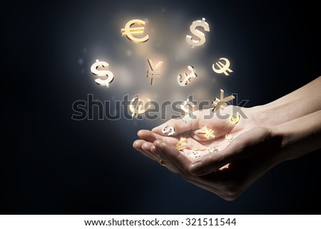 Hand touching money currency symbol with finger #321511544