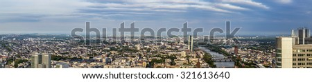 FRANKFURT, GERMANY - MAY 2, 2015: Aerial view of Frankfurt with skyline in Frankfurt, Germany. Frankfurt is the biggest city in Hesse, Germany. #321613640