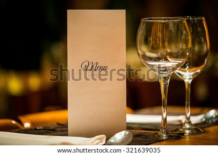restaurant menu #321639035