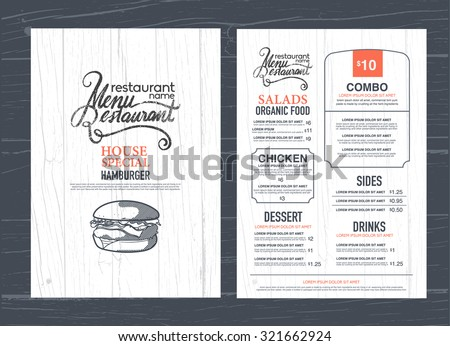 vintage restaurant menu design and wood texture background. Royalty-Free Stock Photo #321662924