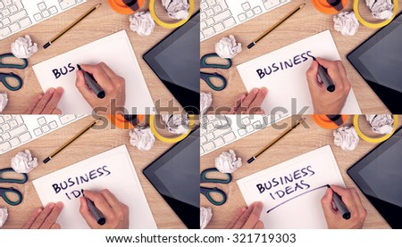 Business ideas, businessman writing ideas on paper, top view of business workspace, image sequence collage #321719303