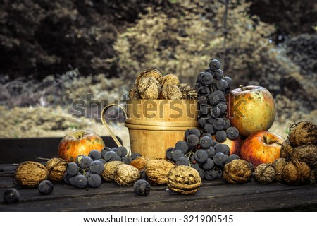 Artistic vintage desaturated edit of autumn bio fruits still life, ecological and natural, with copy space for text #321900545