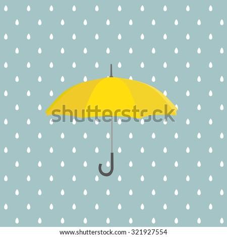 Yellow umbrella with rain. Vector background