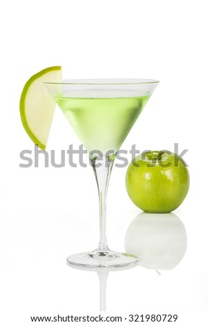 Apple Martini. Very cold martini cocktail made with green apple  #321980729
