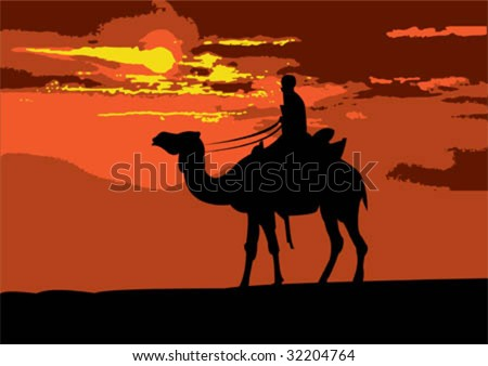 Illustration of a camel rider traveling through the desert on sunset #32204764