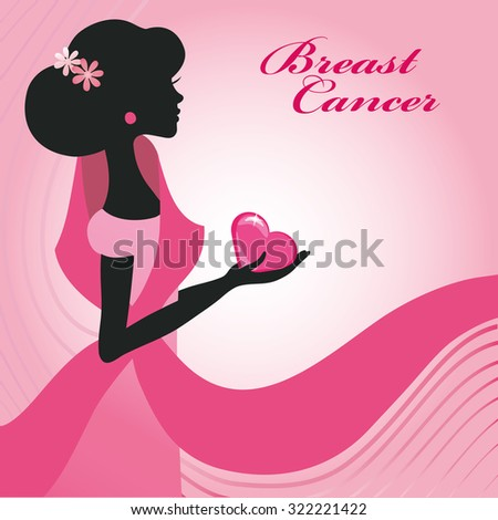 Breast Cancer Awareness background.Woman silhouette .Vector card or poster.Square. #322221422