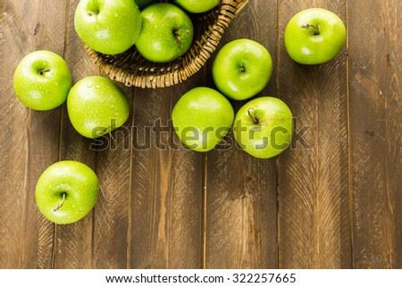 Organic Granny Smith apples on the table. #322257665