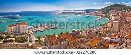 Split historic waterfront panoramic aerial view, Dalmatia, Croatia Royalty-Free Stock Photo #322270280