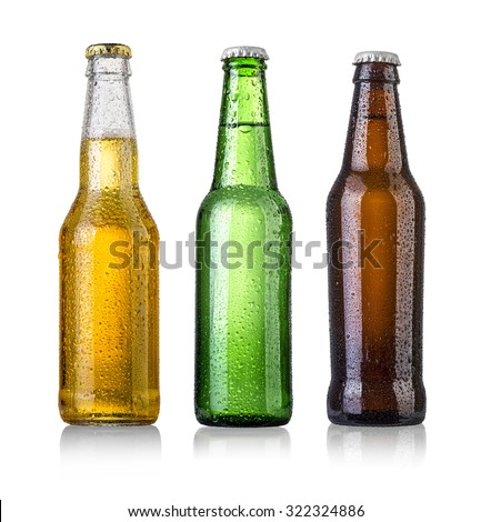 set of Beer bottles with water drops on white background.Five separate photos merged together.