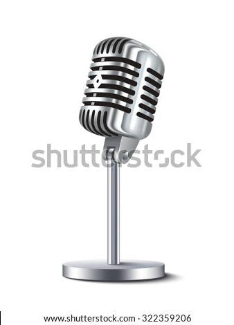 Vintage metal studio microphone isolated on white background vector illustration
