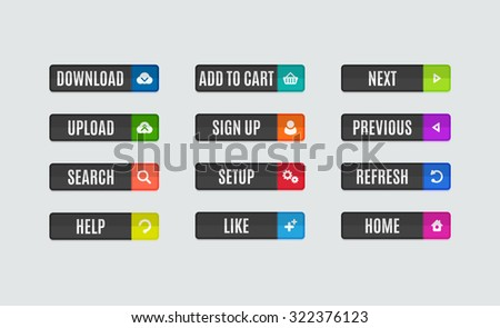 Set of modern flat design website navigation buttons. Rectangle shape. Help like search download upload setup sign up add to cart next previous refresh home icons #322376123