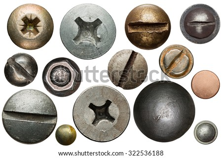 Screw heads, nuts, rivets isolated on white. Royalty-Free Stock Photo #322536188