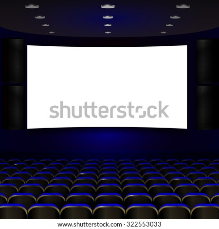 cinema screen with open blue seats #322553033