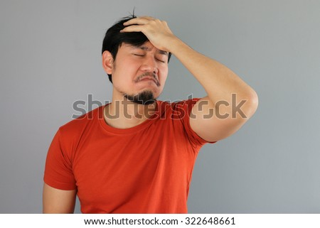 Angry Asian man in Red T-shirt. #322648661