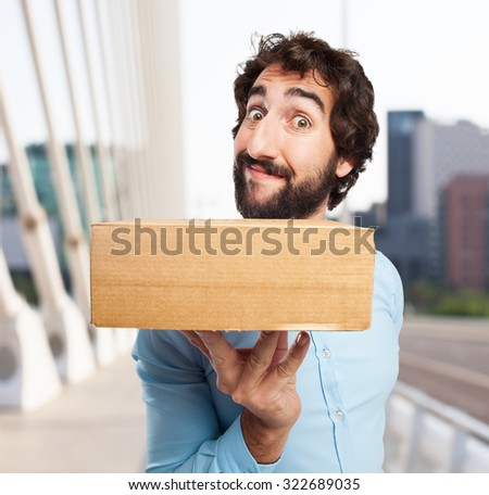 happy young man with boxes #322689035