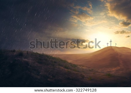 Three crosses in the distance in the desert Royalty-Free Stock Photo #322749128