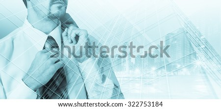 Double exposure concept with thinking businessman. #322753184
