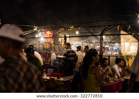 Marrakech, Morocco - Circa September 2015 - food stall on djemaa el fna #322772810
